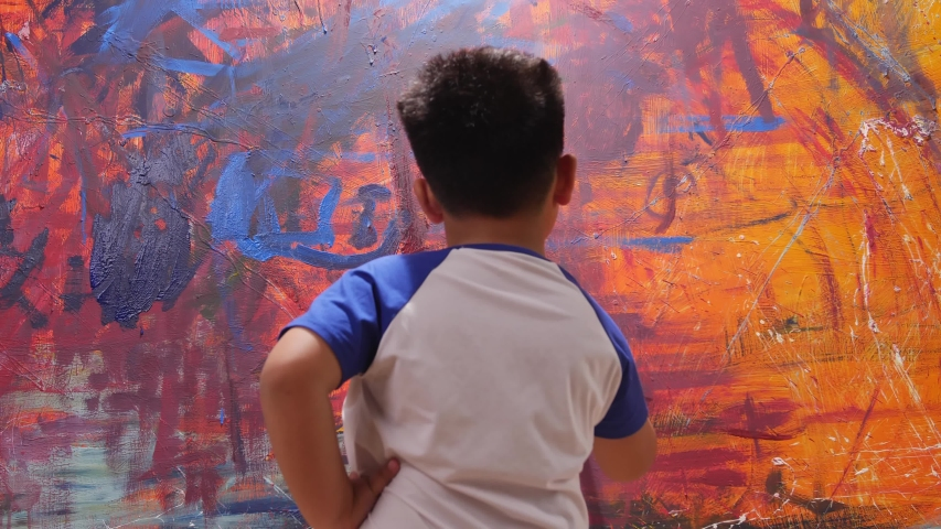 Little Boy Holding Paint Brush And Painting Art Picture