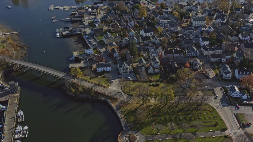 Portsmouth New Hampshire Aerial Panoramic birdseye to wide, from residential to downtown cityscape to looking toward Maine - November 2019