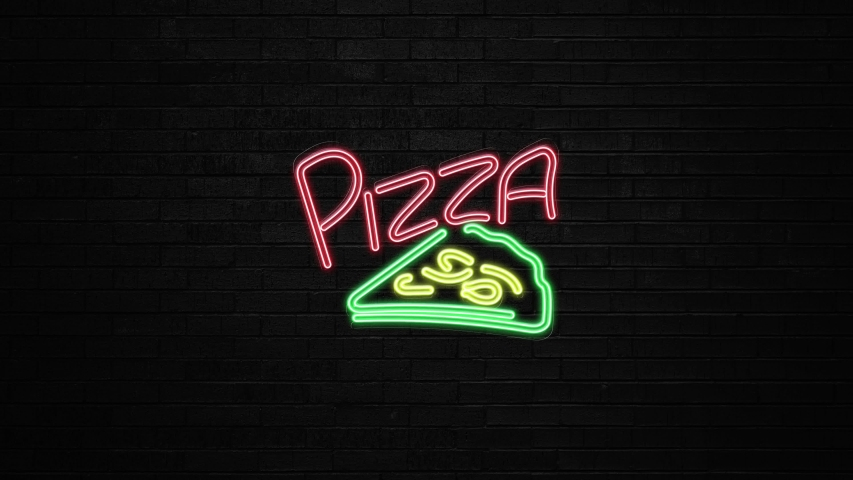 Pizza neon sign light animation on the brick wall and black background. Animated icon as glow light effect. Bar neon sign Seamless looping.