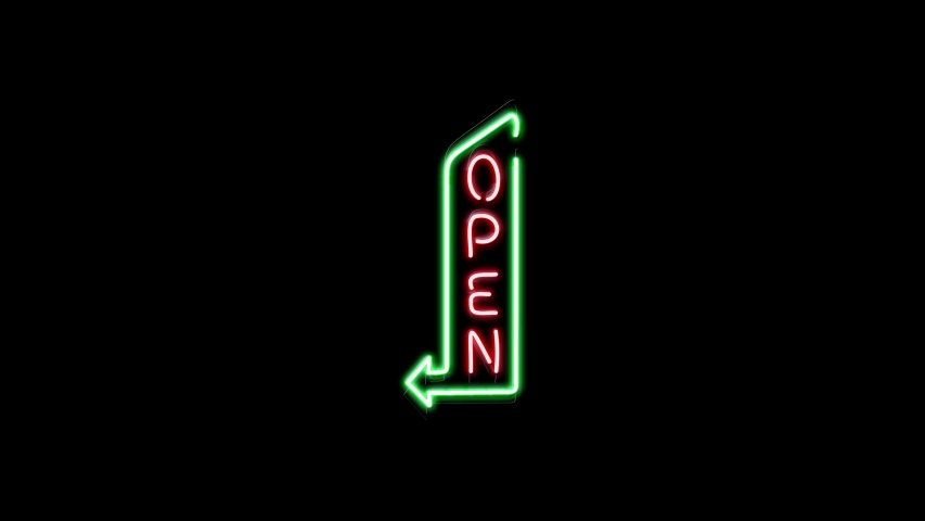 Open and arrow neon sign light animation on the brick wall and black background. Animated icon as glow light effect. Bar neon sign Seamless looping.