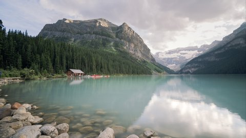 Time lapse Panning Shot of Lake Louise British Colombia, Canada in Summer