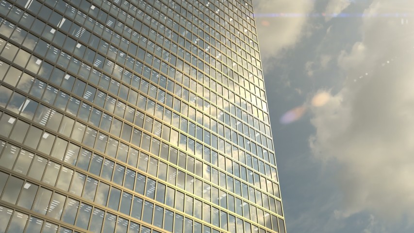 Office building windows and aerial view on skyscraper building with many corporate offices of success companies. Real estate for rent and commercial using, seamless loop abstract 3d animation. Royalty-Free Stock Footage #1057168360