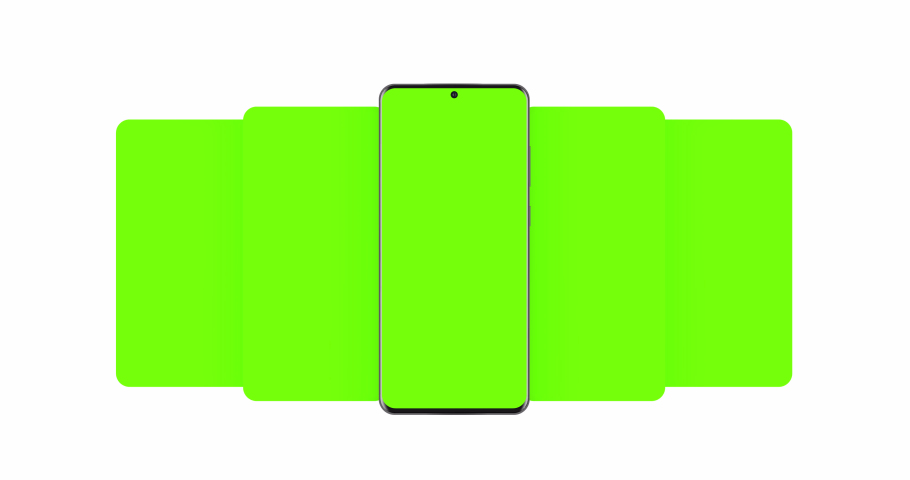 Smartphone with blank green sliding app screens isolated on white background. Animation for showcasing mobile web-site design of more projects | Shutterstock HD Video #1057177420