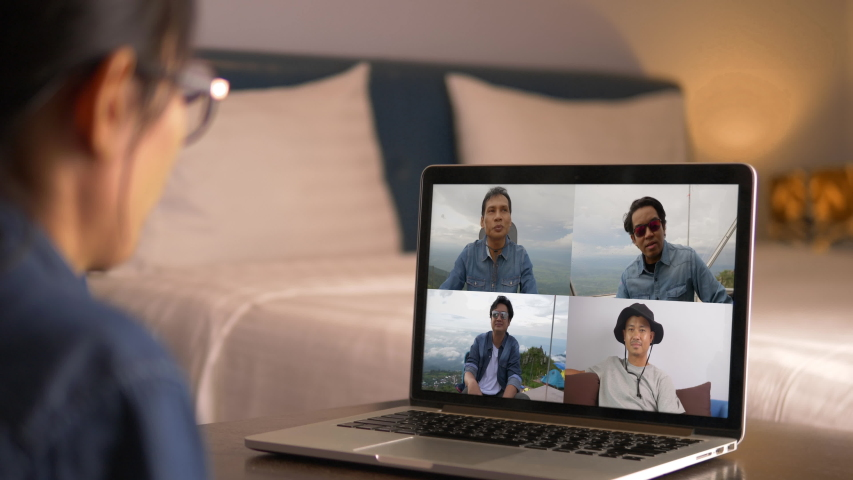 Video call with colleagues working from home, Business people using Video Conferencing technology for virtual meeting | Shutterstock HD Video #1057180108