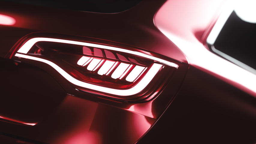 Modern Design Image of Car Shapes. Background Stylish Chrome Car Closeup. Concept of Contemporary Art Creative Look for Future Automotive Industry. 3d Animation Auto Headlight Illustration Technology