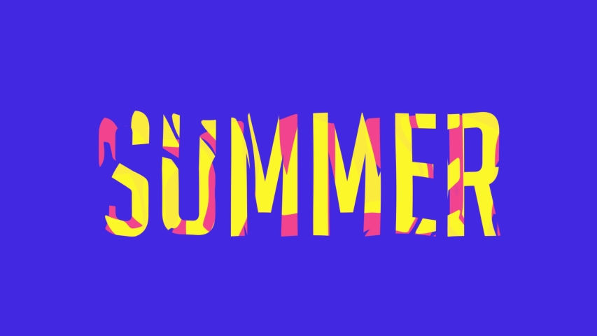 Word summer on bright, royal blue background. Colors yellow and pink moving within the word summer. 4K, 10 seconds.   Shutterstock HD Video #1057184944