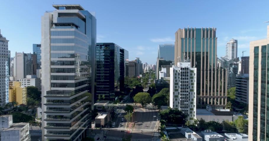 Flying over Faria Lima avenue at Sao paulo Brazil, during the covid 19 quarantine