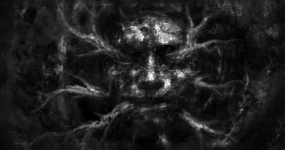 Dark hole and ugly face dead man, from whose mouth branches of tree crawl out. Horror fantasy 2D animation. Animated 4K video clip nightmares for creepy Halloween. Black and white grunge background.   Shutterstock HD Video #1057193194