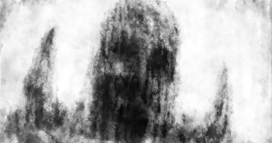 Dirty zombie vomits blood. Evil monster with spikes rising from puddle of mud. 2D animation in horror fantasy genre. Black and white background. Animated 4K short film nightmares. Spooky Halloween.