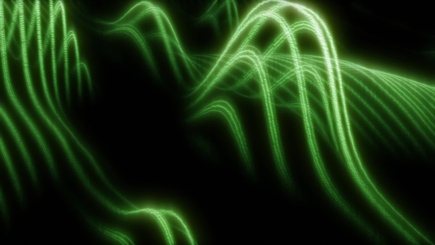 Digital Audiowaves Glowing Green Flying In The Dark Space. Technological Dynamic Background
