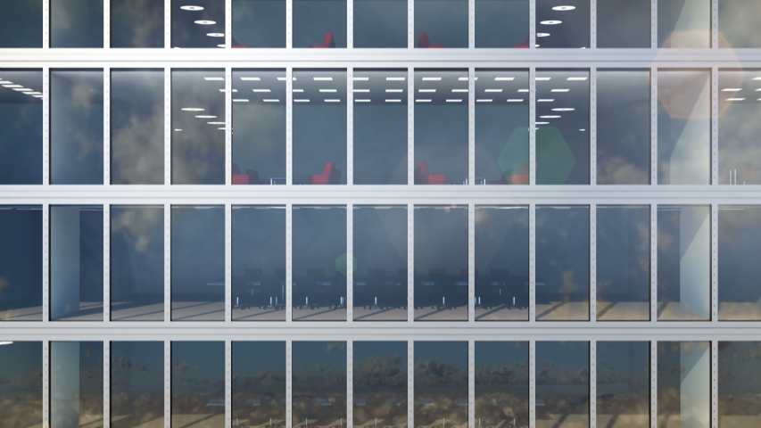 Moving up to the clouds along windows of the office building and high rise modern skyscraper. Clouds and the sky are reflecting in the glass of the windows of the empty real estate, loop 3d animation. | Shutterstock HD Video #1057196002