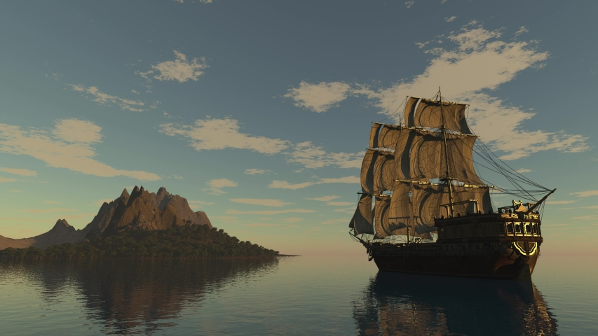 Unknown island, An old ship anchored next to an island, A merchant or pirate ship, Mountainous island in the sea, 3D Rendering, Perfect for cinema, Seamlessly looped animation. Royalty-Free Stock Footage #1057212904