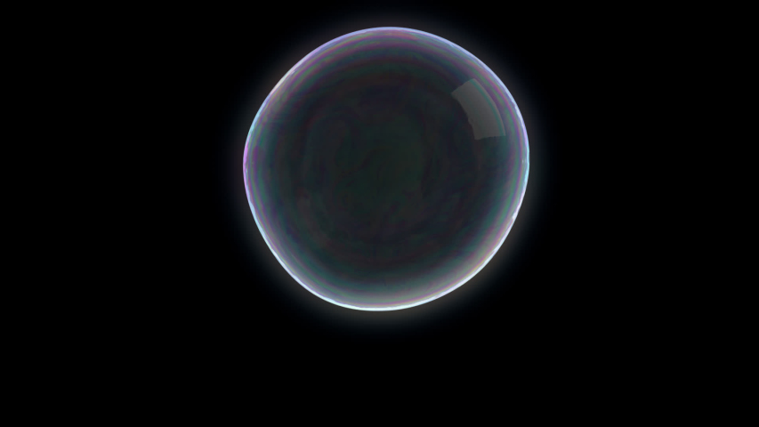 A bright soap bubble that bursts leaving little droplets and particles that dissolve into thin air on a transparent background.   24 fps - 1920x1080 - Alpha Channel - ProRes 4444 Royalty-Free Stock Footage #1057216609