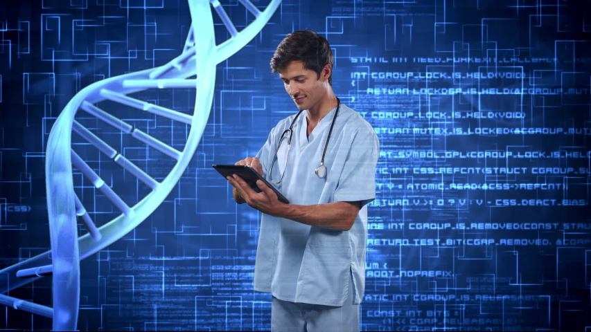 Animation of a doctor using digital tablet over DNA strain, data processing, statistics showing in the background. Medicine public health pandemic coronavirus outbreak concept digital composite.   Shutterstock HD Video #1057217182