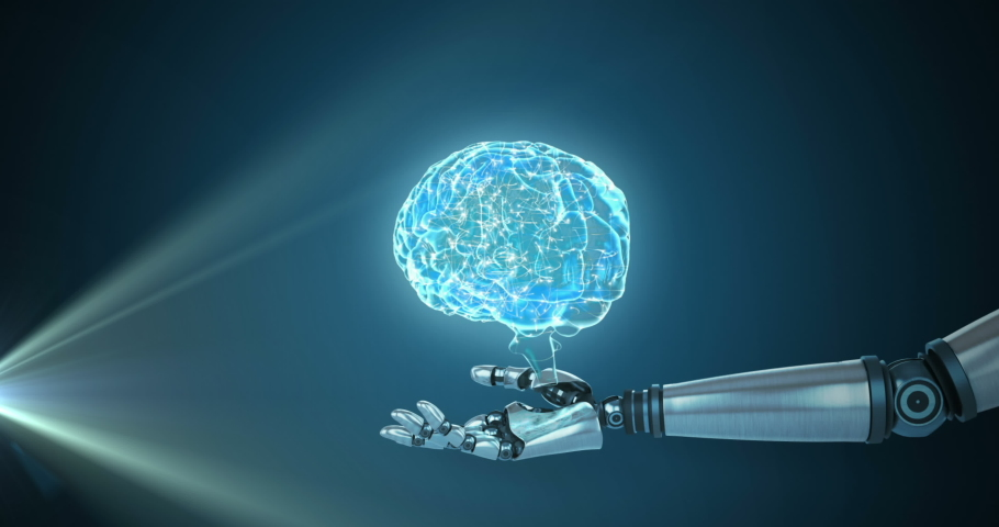 Animation of 3d blue glowing human brain rotating with robot arm reaching out on glowing blue background. Global science artificial intelligence concept digitally generated image.   Shutterstock HD Video #1057217632