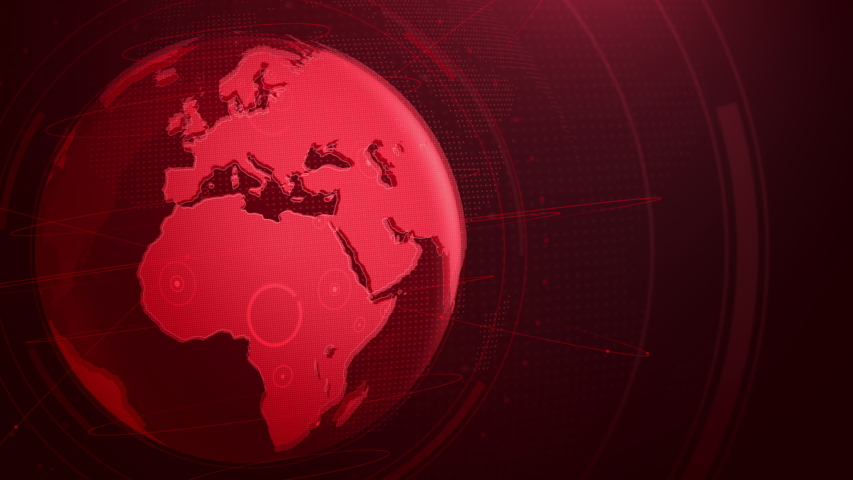 Red global rotating. Global communication, News template background, Breaking news, 4k Resolution.   Shutterstock HD Video #1057219267