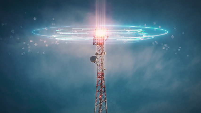 Time lapse 5G 4G Telecommunication tower. Telecom Antenna and Satellite Mobile Signals and Radio Waves Animation concept. Radioactive Pollution and fascism masses control | Shutterstock HD Video #1057220197