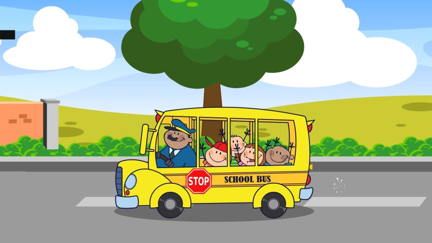 School Bus With Happy Children Cartoon Characters Going To School. 4K Animation Video Motion Graphics With Background