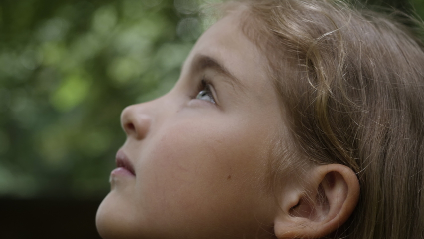 Kid Looking Up at Sky in Nature. Portrait Little Girl Praying Looking Up at Sky With Hope and Faith, Contemplative Child Face, Closeup. Girl Looks-up God Believer Prayer, Passionate Dreamer Divine. Royalty-Free Stock Footage #1057221967