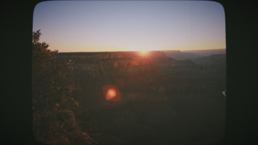 Sunset at Grand Canyon National Park, from Hopi Point. Vintage Film Look.