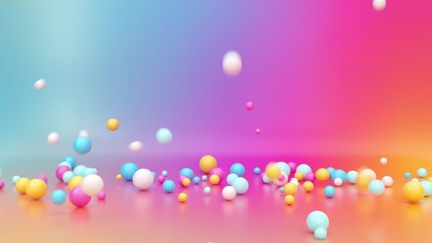 3d render, assorted colorful balls falling down inside empty room, bouncing and jumping over vibrant gradient background, interactive particles motion. Animated gravity effect. Abstract fun concept