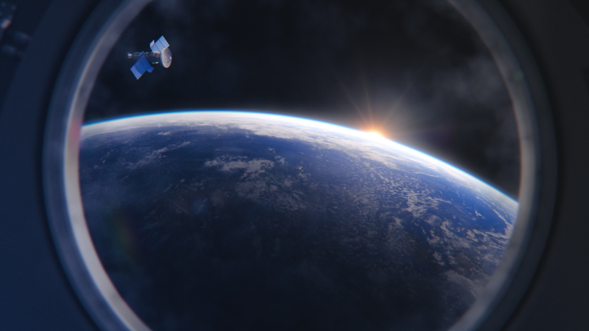 Breathtaking View of the Planet Earth as Seen from the International Space Station Porthole. Rising Sun Illuminates Our Blue Planet and Satellite Flying by. Scientifically Accurate 3D VFX Rendering