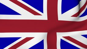 United Kingdom waving flag. UK British National closeup. 3D gradient background animation. 4K and HD resolution
