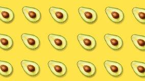 4k. Minimal Motion Graphic Abstract Avocado Background. Horizontal view. 3840x2160.