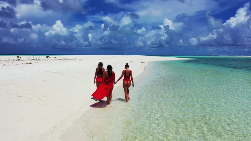 Wide shot of three beautiful ladies holding hands while walking together in slow motion along the white sand shore near clear sea and under the exquisite sky, tracking forward. | Shutterstock HD Video #1057245871