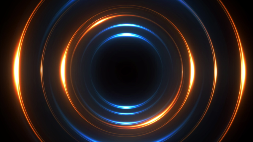 Neon circle lights abstract background for colorful vortex concept. Bright shiny round border for presentation slide. Seamless loop. Royalty-Free Stock Footage #1057252696