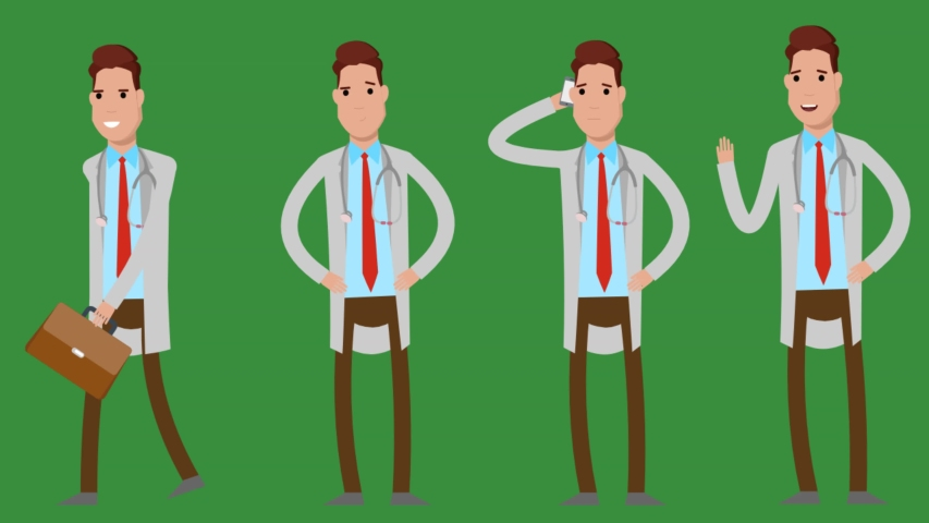 Doctor character in many actions , walking - hi - thinking - waiting   Shutterstock HD Video #1057255120