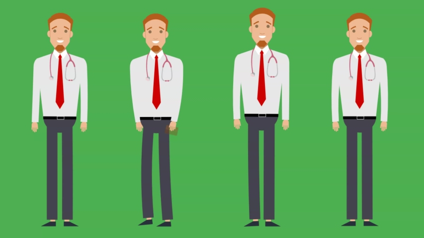 Doctor character in many poses , walking - hi - thinking - waiting   Shutterstock HD Video #1057256974