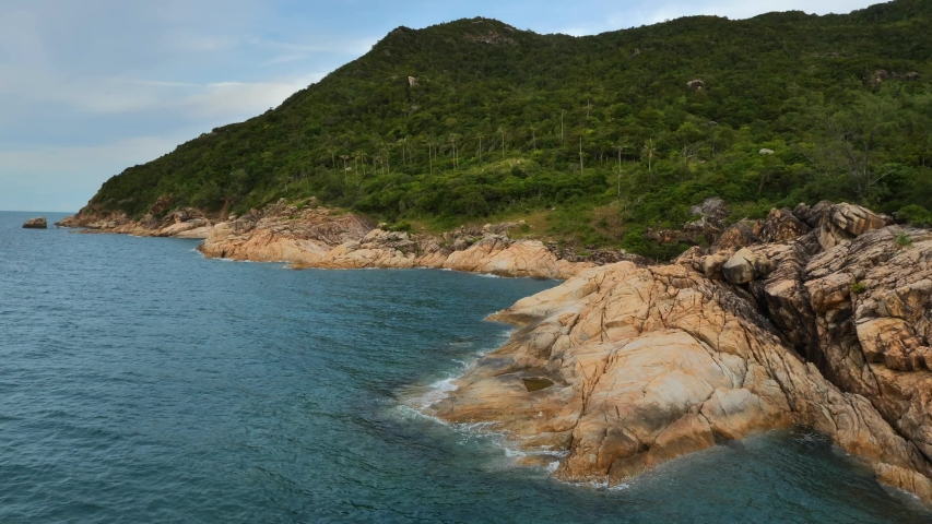 Static shot to rocky coastline at koh Phangan island, Thailand | Shutterstock HD Video #1057257154