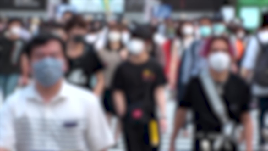 SHIBUYA, TOKYO, JAPAN - AUG 2020 : Crowd of people wearing surgical mask to protect from Coronavirus (COVID-19) at Shibuya Crossing. Shot in day time, hot summer season. Blurred slow motion. | Shutterstock HD Video #1057261024