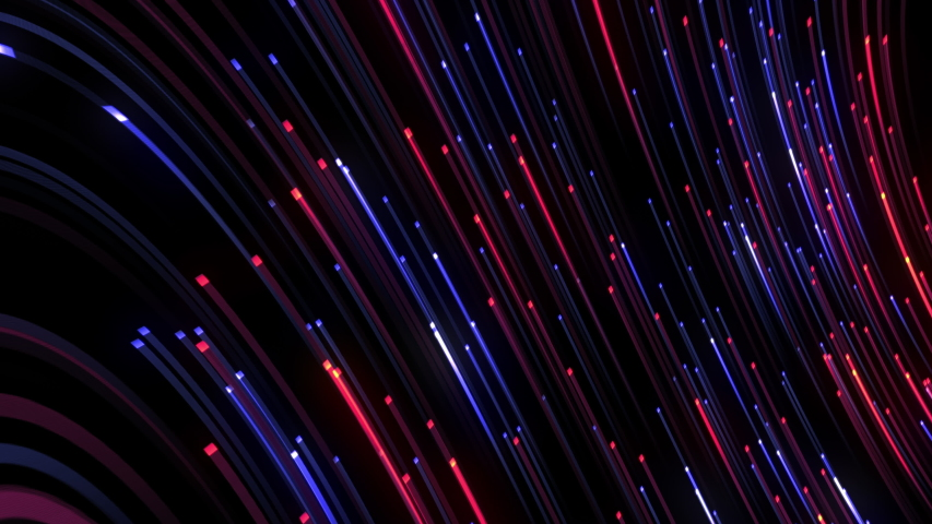 Gradient red and blue neon digital line strips flowing on black background. 4K 3D Seamless loop futuristic data flow background, concept of hi tech information transfer and network communication. Royalty-Free Stock Footage #1057261360