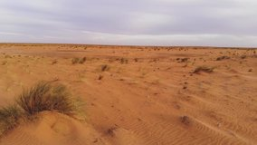 Panoramic view of the desert in Mauritania. Desert in Mauritania. Desert. View. 4k Bird's eye view.