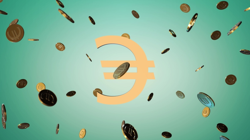 Glitters golden symbol of the European currency Euro and  gold coins rotate on a blue background. loop animation. 4K | Shutterstock HD Video #1057276900
