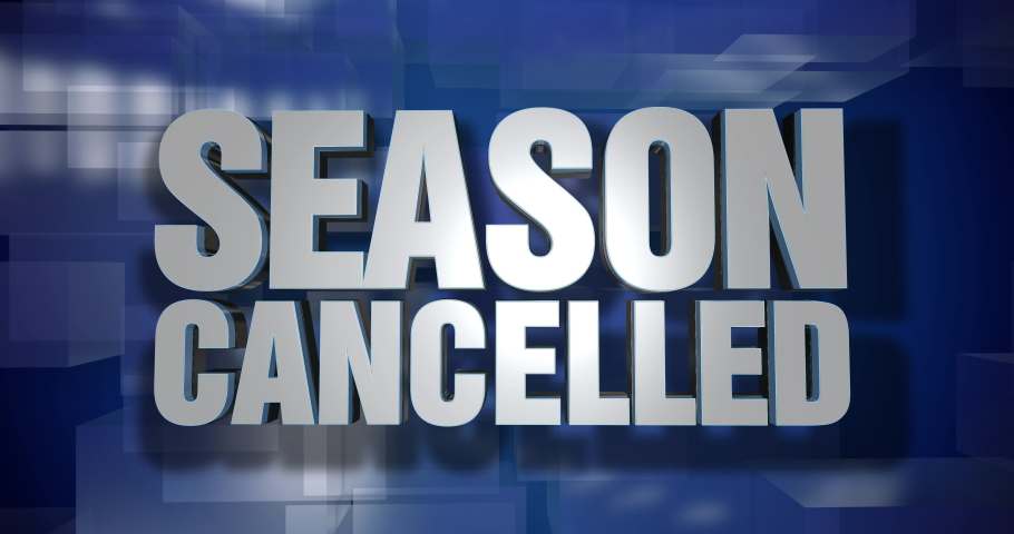 A blue dynamic 3D Season Cancelled news transition and title page animation. Many sports programs were canceled in 2020 during the COVID-19 coronavirus pandemic.     Shutterstock HD Video #1057285600
