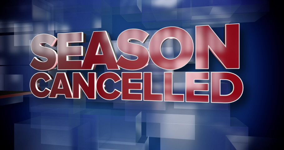 A red and blue dynamic 3D Season Cancelled news title page background animation. Many sports programs were canceled in 2020 during the COVID-19 coronavirus pandemic.     Shutterstock HD Video #1057286842