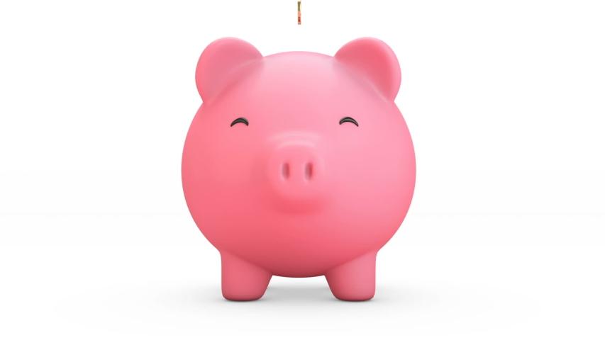 3d render of Golden coins falling into a piggy bank. Pink piggy bank Get bigger when receiving coins .Money saving concept. front view. Isolated.  | Shutterstock HD Video #1057293772