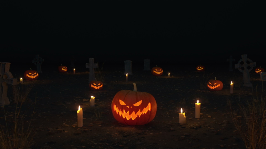 3D Halloween Night background with candles, pumpkins, graves. 3D rendered animation