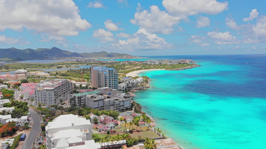 Aerial view Maho cityscape in the island of st.maarten.  | Shutterstock HD Video #1057314082