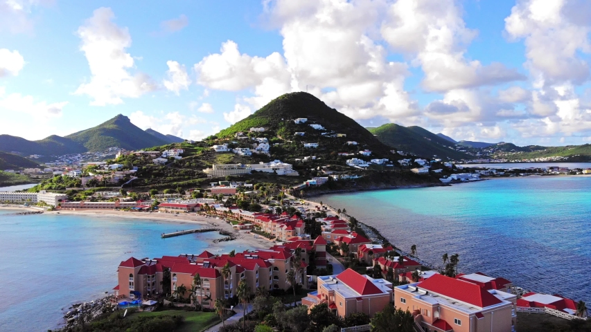 Aerial view of luscious green mountains in the Caribbean island of st.maarten.  Royalty-Free Stock Footage #1057314088