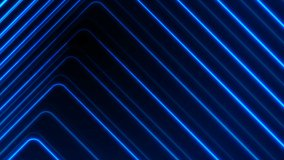 Blue glowing neon lines abstract tech futuristic motion background. Seamless looping. Video animation Ultra HD 4K