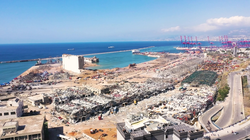 Port of Beirut after the massive explosion 4/8/2020 Lebanon