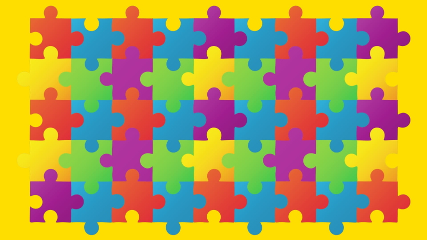 Animation of multi coloured puzzle elements forming rectangle Autism Awareness Month symbol on yellow background. Autism awareness support concept digitally generated image. Royalty-Free Stock Footage #1057329169