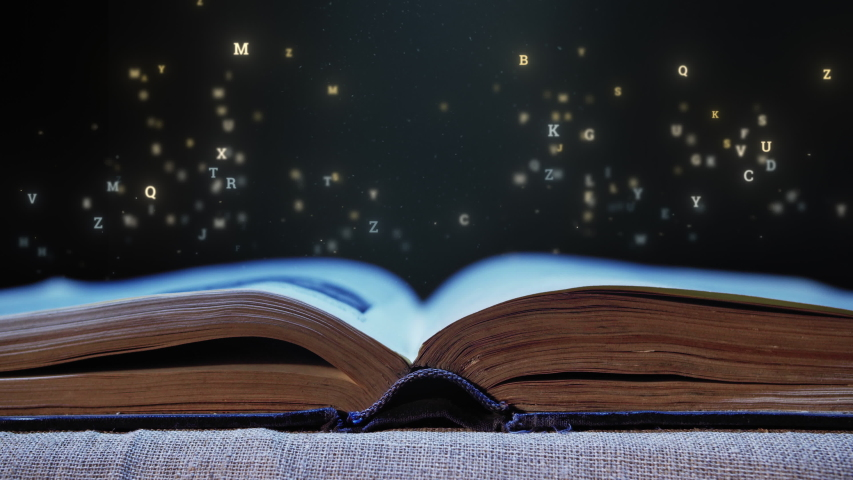 Letters flying out of an open book | Shutterstock HD Video #1057332370