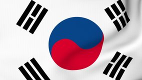South Korea flag waving in the wind with high quality texture in 4K National Flag