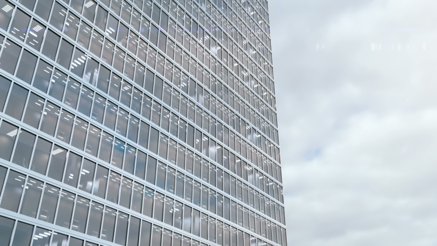 High rise office building on a background of a timelapse cloudscape. Time goes very fast and reflection of the clouds are reflects in the windows of skyscraper. 3d animation for real estate agencies. | Shutterstock HD Video #1057335631
