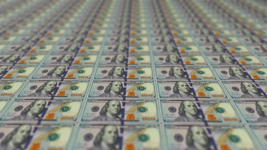 Background with money american hundred dollar bills in 4k video. | Shutterstock HD Video #1057336573